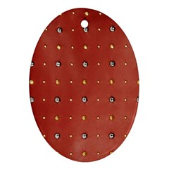 Studded Faux Leather Red Oval Ornament (two Sides)