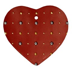 Studded Faux Leather Red Heart Ornament (Two Sides)