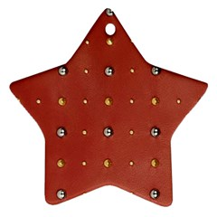 Studded Faux Leather Red Twin-sided Ceramic Ornament (Star)