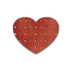 Studded Faux Leather Red 4 Pack Rubber Drinks Coaster (Heart)
