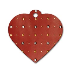Studded Faux Leather Red Twin Sided Dog Tag (heart)