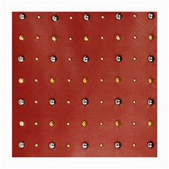 Studded Faux Leather Red Twin-sided Large Glasses Cleaning Cloth