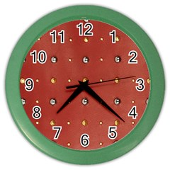 Studded Faux Leather Red Colored Wall Clock