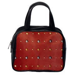 Studded Faux Leather Red Single-sided Satchel Handbag
