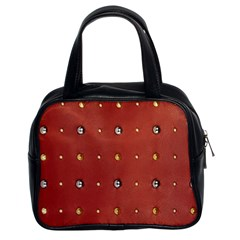 Studded Faux Leather Red Twin-sided Satched Handbag
