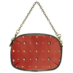 Studded Faux Leather Red Single-sided Evening Purse