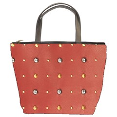 Studded Faux Leather Red Bucket Handbag