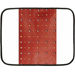 Studded Faux Leather Red Twin-sided Mini Fleece Blanket