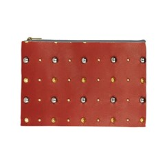 Studded Faux Leather Red Large Makeup Purse