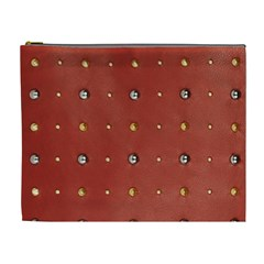 Studded Faux Leather Red Extra Large Makeup Purse