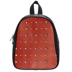 Studded Faux Leather Red Small School Backpack