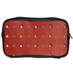 Studded Faux Leather Red Twin-sided Personal Care Bag
