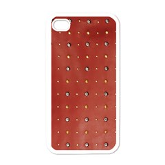 Studded Faux Leather Red White Apple Iphone 4 Case