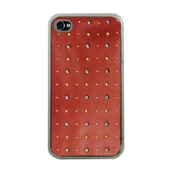 Studded Faux Leather Red Apple iPhone 4 Case (Clear)