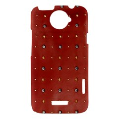 Studded Faux Leather Red HTC One X Hardshell Case