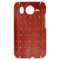 Studded Faux Leather Red HTC Desire HD Hardshell Case