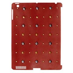 Studded Faux Leather Red Apple iPad 3/4 Hardshell Case (Compatible with Smart Cover)