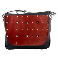 Studded Faux Leather Red Messenger Bag