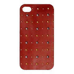 Studded Faux Leather Red Apple Iphone 4/4s Premium Hardshell Case