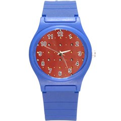 Studded Faux Leather Red Round Plastic Sport Watch Small