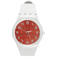 Studded Faux Leather Red Round Plastic Sport Watch Medium