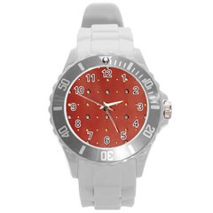 Studded Faux Leather Red Round Plastic Sport Watch Large