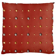 Studded Faux Leather Red Large Cushion Case (Two Sides)