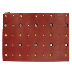Studded Faux Leather Red Cosmetic Bag (XXL)