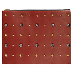 Studded Faux Leather Red Cosmetic Bag (xxxl)
