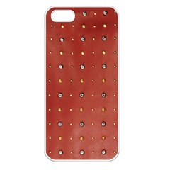 Studded Faux Leather Red Apple iPhone 5 Seamless Case (White)