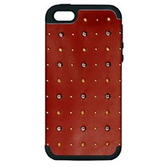 Studded Faux Leather Red Apple Iphone 5 Hardshell Case (pc+silicone)