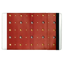 Studded Faux Leather Red Apple iPad 3/4 Flip Case