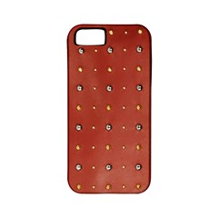 Studded Faux Leather Red Apple iPhone 5 Classic Hardshell Case (PC+Silicone)
