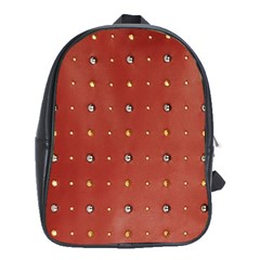 Studded Faux Leather Red School Bag (XL)