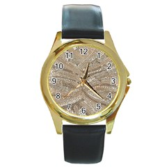 Tri-Colored Bling Design Black Leather Gold Rim Watch (Round)