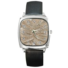 Tri Colored Bling Design Black Leather Watch (square)