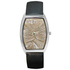 Tri Colored Bling Design Black Leather Watch (tonneau)