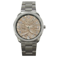 Tri Colored Bling Design Stainless Steel Sports Watch (round)