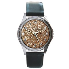 Light and Dark Sequin Design Black Leather Watch (Round)