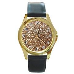 Light And Dark Sequin Design Black Leather Gold Rim Watch (round)