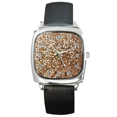 Light and Dark Sequin Design Black Leather Watch (Square)