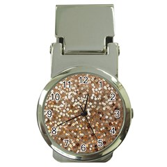 Light and Dark Sequin Design Chrome Money Clip with Watch
