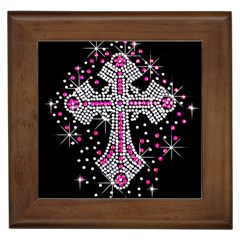 Hot Pink Rhinestone Cross Framed Ceramic Tile
