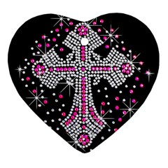 Hot Pink Rhinestone Cross Ceramic Ornament (heart)