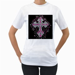 Hot Pink Rhinestone Cross White Womens  T Shirt