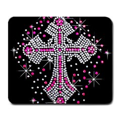 Hot Pink Rhinestone Cross Large Mouse Pad (Rectangle)
