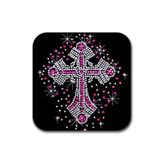 Hot Pink Rhinestone Cross 4 Pack Rubber Drinks Coaster (Square)