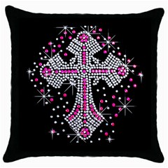 Hot Pink Rhinestone Cross Black Throw Pillow Case