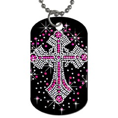 Hot Pink Rhinestone Cross Twin-sided Dog Tag