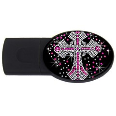 Hot Pink Rhinestone Cross 2gb Usb Flash Drive (oval)